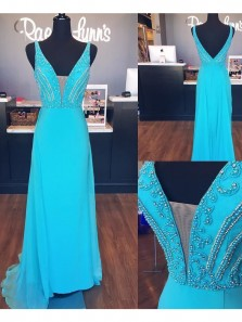 Charming A-Line V Neck Open Back Blue Chiffon Long Prom Dresses with Beading,Elegant Evening Party Dresses