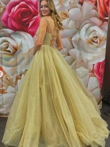Exquisite A-Line V Neck Cross Back Champagne Tulle Long Formal Prom Dresses