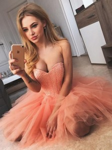 Sexy A-line Tulle Sweetheart Homecoming Dresses,Sparkly Short Prom Dress