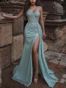 Luxurious Mermaid Sweetheart Sequins Lace Long Prom Dresses with High Split,Formal Evening Party Dresses