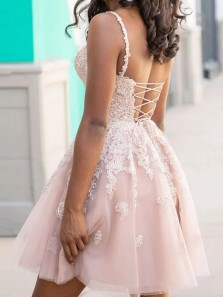 New Arrival V Neck Cross Back Blush Tulle Short Homecoming Dresses,Lace Short Prom Dresses