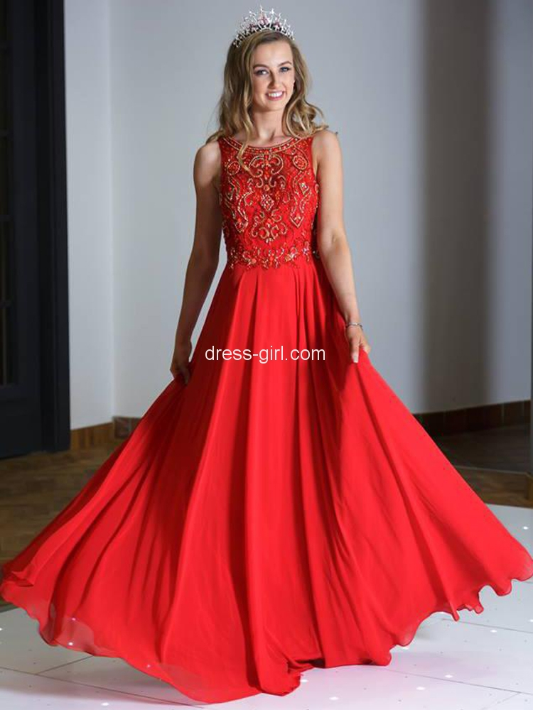 6a73610ab22 Beautiful A-Line Scoop Neck Red Chiffon Long Prom Dresses with  Beading