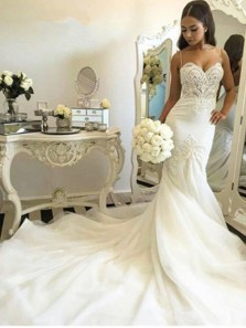 Delicate Tulle Lace Spaghetti Strap Mermaid Wedding Dress Court Train wedding gowns bridal dresses