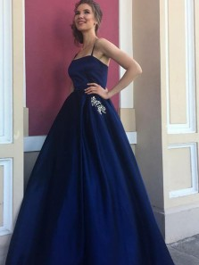 Modest A-Line Spaghetti Straps Open Back Navy Blue Satin Long Prom Dresses,Elegant Formal Party Dresses