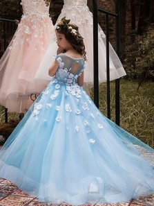 Cute A-Line Round Neck Blue Tulle Flower Girl Dresses with Flowers