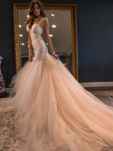 Modest Mermaid Sweetheart Straps Backless Blush Pink Tulle Wedding Dresses