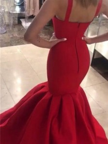 Simple Mermaid Sweetheart Open Back Dark Red Satin Long Prom Dresses,Evening Party Dresses