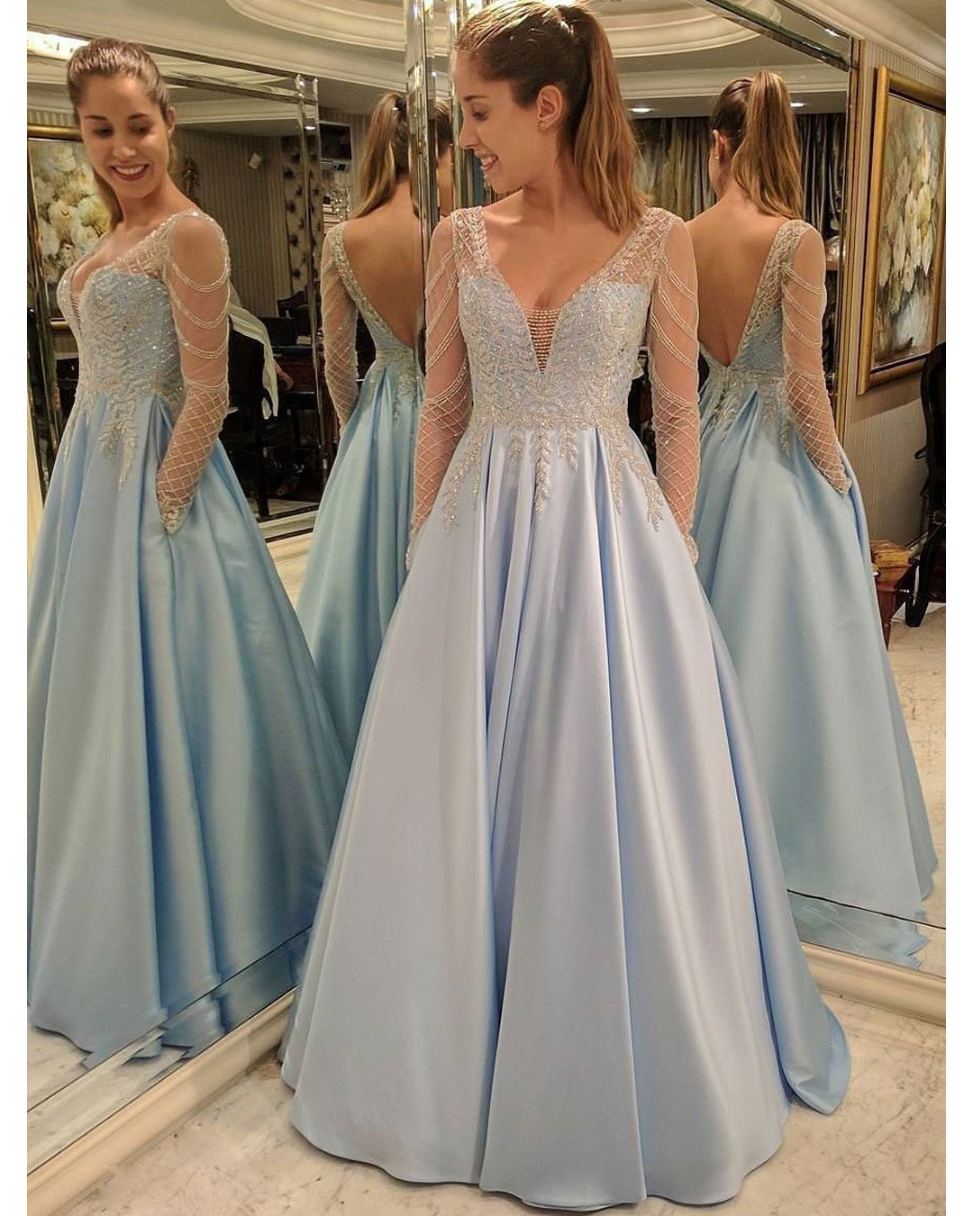 3d11ffa469f55 Charming Prom Dress, Long Sleeve Prom Dresses with Beaded, Sexy Long Evening  Dress, V Neck Party Gown