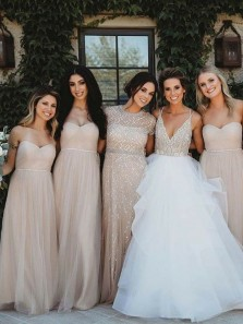 Elegant A-Line Sweetheart Open Back Champagne Tulle Long Bridesmaid Dresses