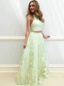 Charming A-Line Two Piece Open Back Mint Satin Long Prom Dresses with Lace,Cute Evening Party Dresses