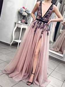 Chic A-Line Deep V Neck Open Back Blush Tulle Long Prom Dresses with Black Lace,Charming Evening Party Dresses