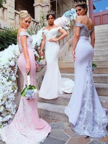 Modest Mermaid Off the Shoulder Open Back White Satin Long Bridesmaid Dresses with Lace