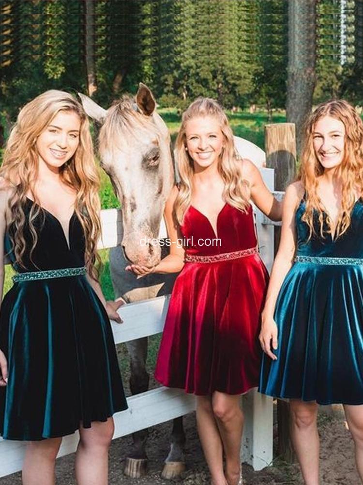09bb6410b6a Cute A-line V Neck Open Back Green Velvet Short Prom Homecoming Dresses