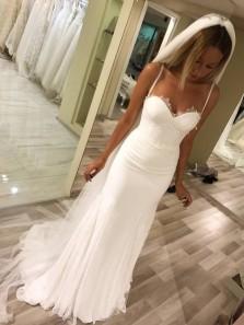 Classy Mermaid Sweetheart Spaghetti Straps Open Back White Wedding Dresses