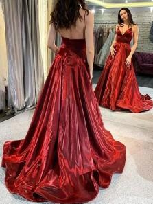 Sparkly A-Line V Neck Open Back Dark Red Satin Prom Dresses,Formal Evening Party Dresses