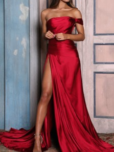 Charming A-Line Off the Shoulder Open Back Red Satin Long Prom Dresses with High Slit,Evening party Dresses
