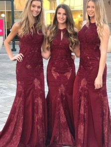 Charming Mermaid Halter Open Back Burgundy Lace Long Bridesmaid Dresses,Long Prom Dresses