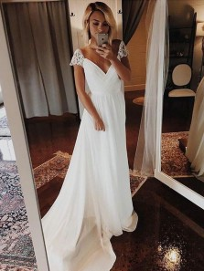 Simple A-Line V Neck Cap Sleeve White Chiffon Long Wedding Dresses with Lace,Beach Wedding Dresses