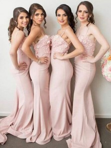Elegant Mermaid Spaghetti Straps Pink Elastic Satin Long Bridesmaid Dresses with Appliques Flowers