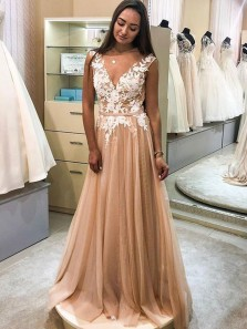 Gorgeous A-Line V Neck Open Back Champagne Tulle Long Prom Dresses with White Appliques