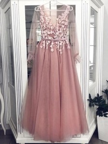 Princess A-Line Round Neck V Back Long Sleeve Blush Tulle Appliques Long Prom Dresses,Girls Junior Graduation Gown,Evening Party Dresses