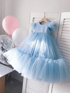 Pretty A-Line Round Neck Flying Sleeve Tulle Flower Girl Dresses
