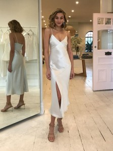 Simple Sheath V Neck Spaghetti Straps Ivory Silk Satin Wedding Guest Dresses,Midi Bridesmaid Dresses,Cocktail Party Evening Dresses