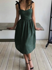 Vintage A-Line Sweetheart Green Midi Wedding Guest Dresses Formal Party Dresses