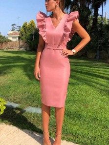 Sheath Business V Neck Retro Ruffles Slim Cocktail Pencil Dress Wedding Guest Party Dresses Under 100