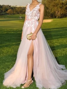 Elegant A-Line V Neck Open Back Pink Tulle Long Prom Evening Dress with Appliques