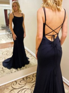 Gorgeous Mermaid Scoop Neck Cross Back Navy Blue Satin Long Prom Evening Dresses with Train
