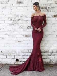Elegant Mermaid Off the Shoulder Long Sleeve Burgundy Floral Lace Long Prom Dresses,Charming Evening Party Dresses