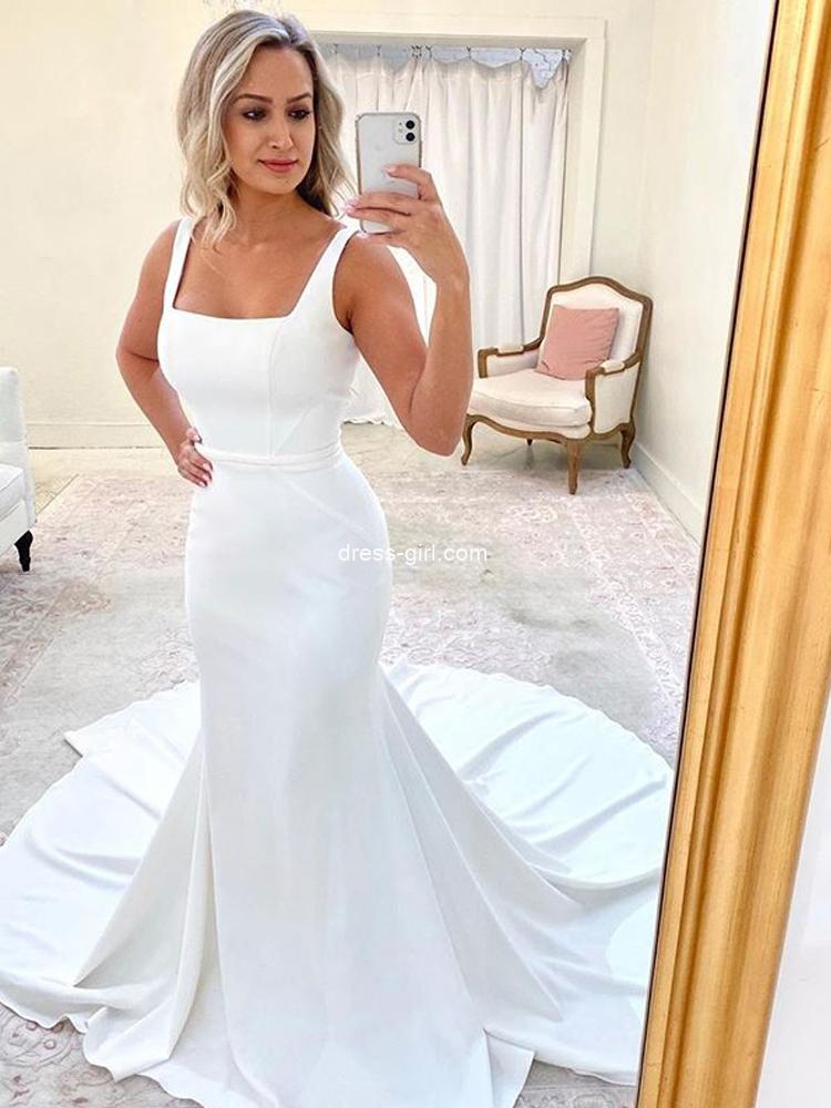 Simple Mermaid Square Neck White Soft Satin Wedding Dresses
