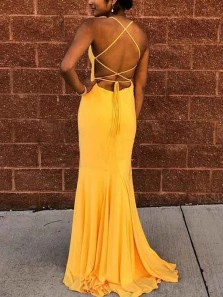 Beautiful Mermaid Scoop Neck Cross Back Yellow Chiffon Long Prom Evening Dresses Formal Party Dresses