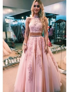 Elegant Two Piece A Line Lace Pink Long Prom Dress, Halter Pink Long Prom Dress with Open Back