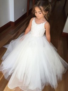 Ball Gown Spaghetti Straps White Tulle Flower Girl Dress with Appliques