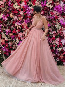 Charming A-Line Spaghetti Straps Deep V Neck Pink Chiffon Long Prom Dresses with Beaded Belt,Formal Party Dresses