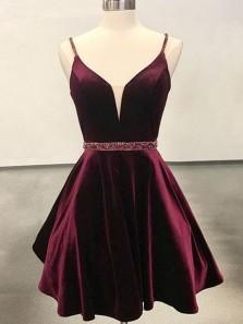 Princess A-Line V Neck Open Back Burgundy Velvet Beaded Belt Short Homecoming Dresses Under 100, Cocktail Party Dresses 1908070011