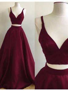 Charming Two Piece A-Line V Neck Open Back Burgundy Satin Long Prom Dresses,Evening Party Dresses,Formal Gown 1908070015