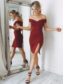 Stylish Bodycon Off the Shoulder Open Back Burgundy Satin Short Homecoming Dresses Under 100,Hoco Dresses with Split 1908070018