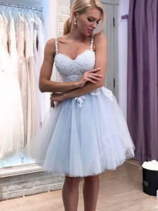 Cute A-Line Sweetheart with Straps Blue Tulle Short Homecoming Dresses Appliques Back to School Dresses 1908070023