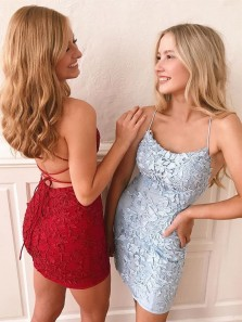 Cute Bodycon Spaghetti Straps Tie Back Appliques Mini Homecoming Dresses, Short Cocktail Dresses 1908070038