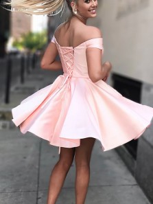 Simple A-Line Off the Shoulder Lace-up Back Pink Satin Short Homecoming Dresses,Cheap Back to School Dresses Under 100 190807004