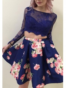 Elegant Two Piece Long Sleeves Navy Blue Short Homecoming Dresses with Pockets, Short Party Dresses with Lace 1908070040