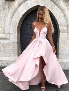 A Line V Neck Spaghetti Straps Pink Satin Long Prom Dresses, Pretty Long Prom Dresses, Formal Dresses 1908070041