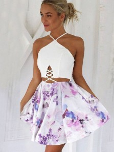 Cute A Line Two Piece Spaghetti Cross Back Short Homecoming Dresses Under 100, Printed Short Prom Dresses with Pockets 1908070042