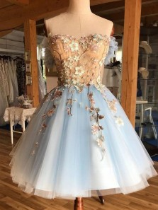 Princess Sweetheart Open Back Blue Tulle Short Homecoming Dresses with Floral Lace,Beautiful Prom Dresses Short 190807005
