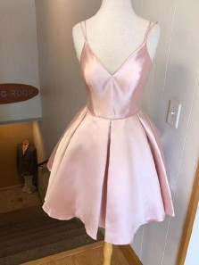 Simple A-Line V Neck Spaghetti Straps Open Back Blush Pink Satin Homecoming Dresses Short Under 100 190807006