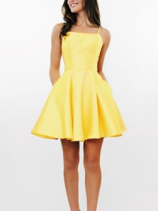 Cheap A-Line Square Neck Spaghetti Straps Open Back Yellow Satin Short Homecoming Dresses with Pockets Under 100 190807009