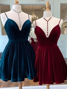 Vintage A-Line V Neck Cross Back Burgundy Velvet Short Homecoming Dresses with Pockets Under 100,Cheap Back to School Dresses 190808004